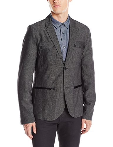 Kenneth Cole REACTION Men's Military Blazer, Black Combo, X-Large (Combo Black Cole Kenneth)