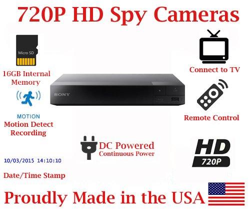 SecureGuard Blu-Ray Player 720P Spy Camera SD Card DVR Self Recording Spy Nanny Camera by AES Spy Cameras