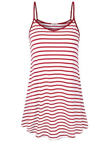 SUNGLORY SUNGLORUY Women Camisoles,Female Sexy Halter Top Striped Sundress Plus Size Clothes Red (Sexy Halter Dress Top Shirt)
