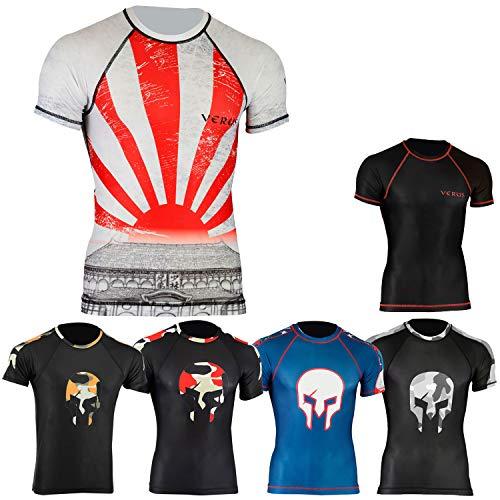Verus Rash Guards MMA Grappling Jiu Jitsu Training Gear Fight Wear Shirts UFC (White/Dragon, XLarge)