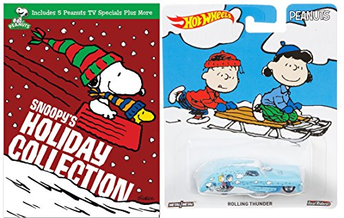 Peanuts Snoopy's Holiday Collection with Hot Wheels Pop Culture Winter Christmas Rolling Thunder Die-Cast 1:64 Car Bundle ()