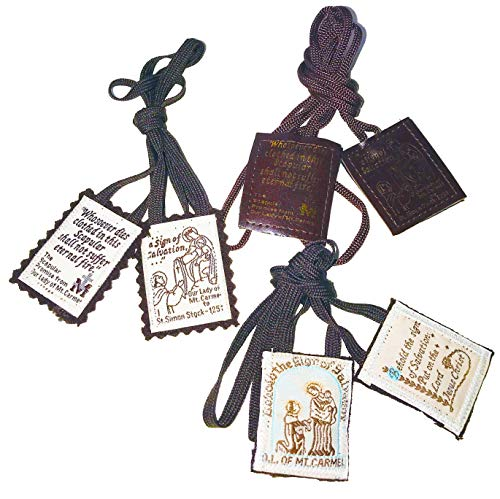 Brown Scapular Favorites | Official Our Lady of Mount Carmel Scapulars | Traditional Wool Leather Carmelite Escapularios ()