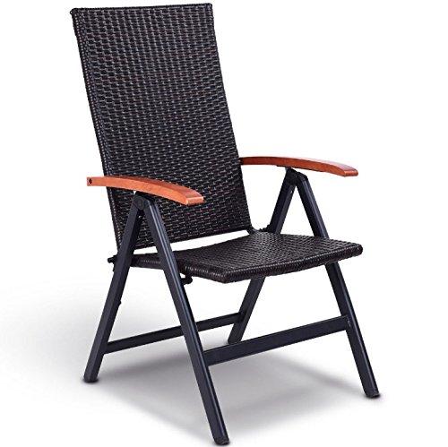(Outdoor Patio Heavy Duty Aluminum Tube Construction Rattan Folding Chair Eucalyptus Wood Armrest 5 Adjustable Backrest Position Perfect for Garden Backyard Beach Pool Side Use Space Saving Design)
