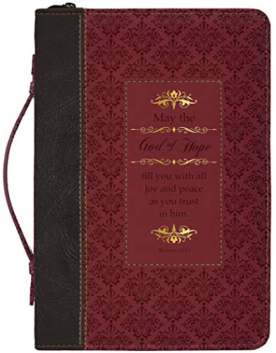 God of Hope Joy Peace Romans Black and Burgundy Large Faux Leather Bible Cover
