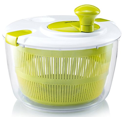 Gourmia GSA9240 Jumbo Salad Spinner Manual Lettuce Dryer With Crank Handle & Locking Lid, Durable BPA free food safe material