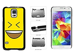 linJUN FENGBright Yellow Evil Grin with Teeth Smiley Face Plastic Phone Case Back Cover Samsung Galaxy S5 I9600