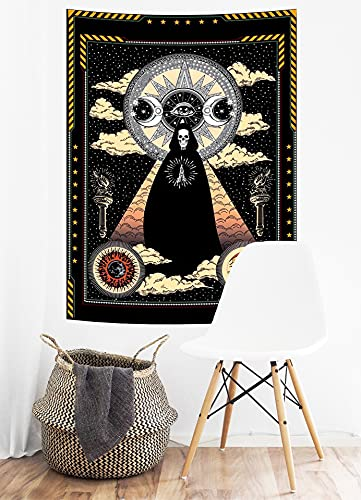 Wizard Wall Tapestry Skull Solar Iris Tapestry Sun and Moon Tapestry Star and Cloud Tapestry Tarot Tapestry for Room