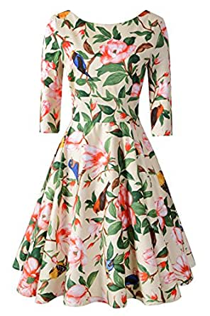 Chicanary Women's Back V-neck 3/4 Sleeve Swing Vintage Dress Beige Floral Small