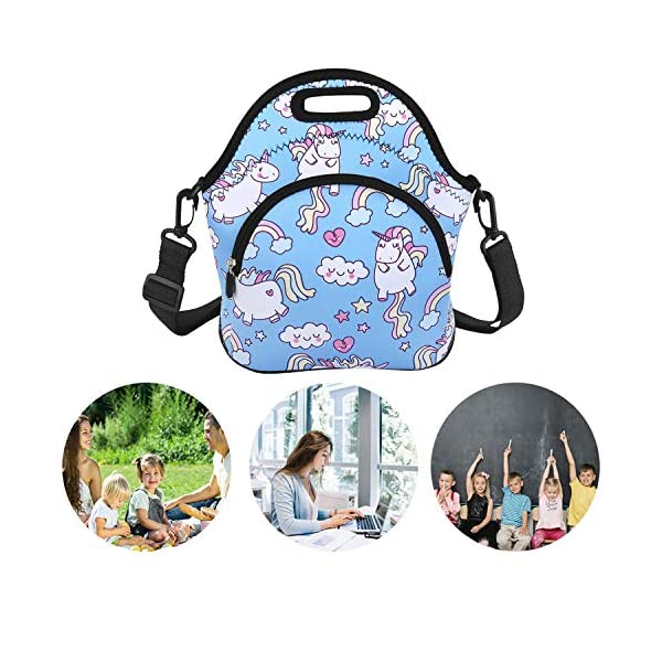 Neoprene Lunch Bag Reusable Tote Bag Insulated Lunch Box Adult Large Lunch Tote Handbag Fordable for Men & Women, Boys & Girls, 7