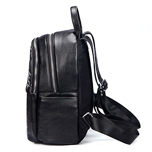 estrella mujeres negro mochila con rayas a Remaches remaches de PU DonDon piel RPwWBTq77