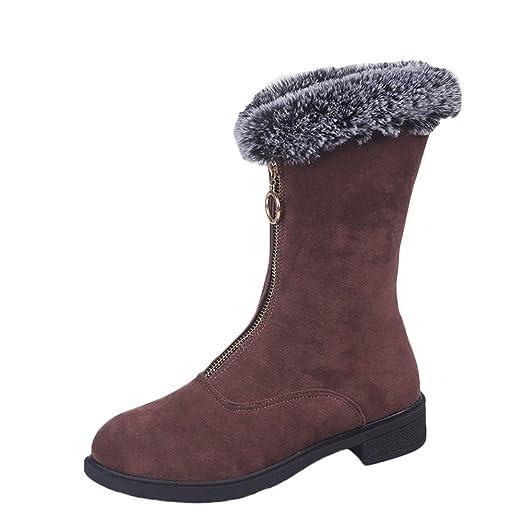❤ Botas Mujer Felpa,Plataforma de Zapatos Planos con Cremallera de Ocio de Invierno para Mujer Mantener Las Botas de Nieve Calientes Absolute: Amazon.es: ...