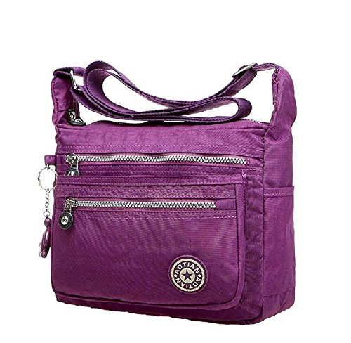 Malloom Nylon Messenger Shoulder Bags Waterproof Women's Outdoor Bag Purple PPrqOv