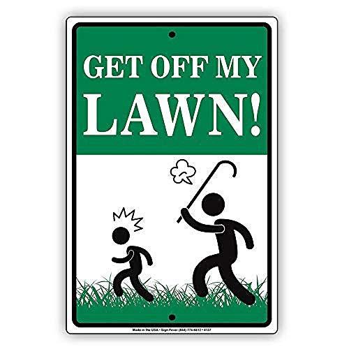私の芝生を降りる 金属板ブリキ看板注意サイン情報サイン金属安全サイン警告サイン表示パネル