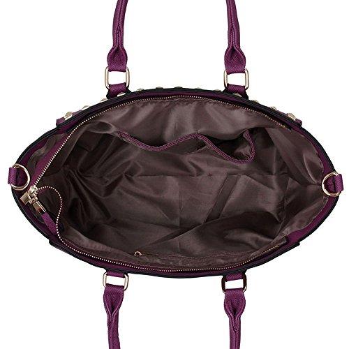 Damen Schultertasche Große Damen Handtaschen Neue Entwerfer Kunstleder Promi Art Trage Groß Lila