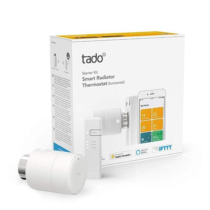 tado° Cabezales Termostáticos Inteligentes Kit de Inicio V3+ - Control inteligente de calefacción, trabaja con Amazon Alexa, Apple HomeKit, Asistente de ...