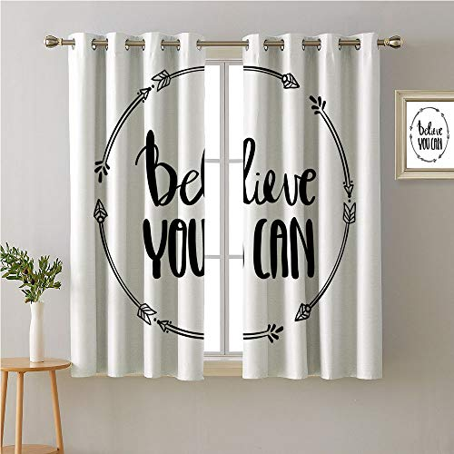 (Jinguizi Quote Grommets Two Panels,Monochrome Style Believe You Can Quote in Arrow Frame Inspirational Composition,Decor Darkening Curtains,63W x 63L)