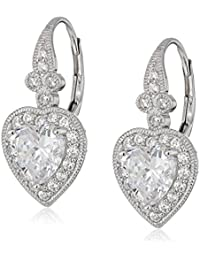 Sterling Silver Swarovski Zirconia Heart Vintage Themed Drop Earrings