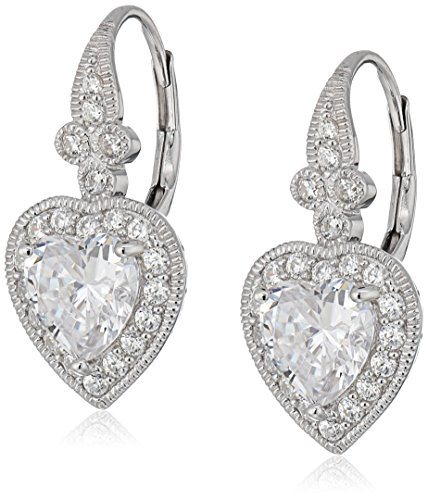 Platinum-Plated Sterling Silver Swarovski Zirconia Antique Heart Drop Earrings (Sterling Silver Earrings Antique)