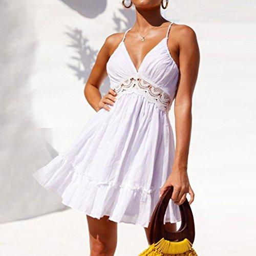 Frauen Wei Kleider Angelof Sommerrmellos Cocktailkleid Ausschnitt Kurze Hochzeit Abendkleid Backless Phantasie Flare Spitze 34jc5AqRL