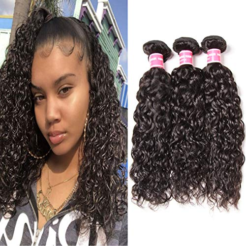 Longqi Beauty Brazilian Water Wave Human Hair 3 Bundles Virgin Remy Hair Weave Double Weft Natural Color 300g (8 10 12 Inch) ()