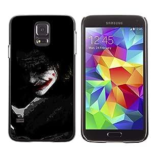 KLONGSHOP // Cubierta de piel con cierre a presión Shell trasero duro de goma Protección Caso - Joker Sombra - Samsung Galaxy S5 //