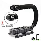 AOEIU Professional Handheld U/C-Shaped Grip - Smartphone Video Enhancement Kit with 3 Integrated Accessory Hot-Shoe Mount for Microphone or LED Video Light Low Position Shooting System for Nikon/Canon