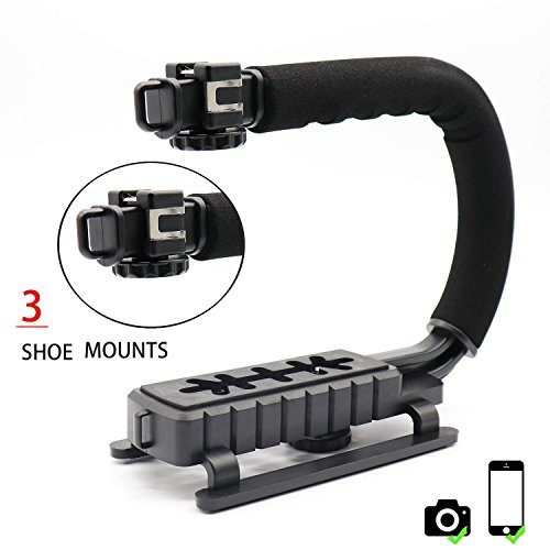 AOEIU Professional Handheld U/C-Shaped Grip - Smartphone Video Enhancement Kit with 3 Integrated Accessory Hot-Shoe Mount for Microphone or LED Video Light Low Position Shooting System for Nikon/Canon by AOEIU
