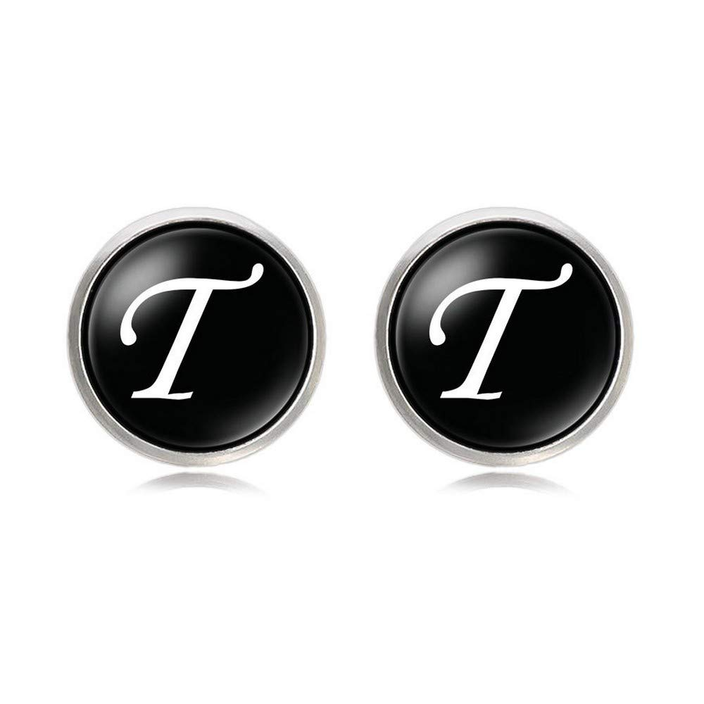Promotioneer Mens Black Letter Cufflinks Initial Alphabet Cufflink with Gift Box