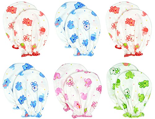 Liwely 6 Pairs Unisex-Baby No Scratch Assorted Mittens, 100% Cotton, Polka Dot Bear & Elephant