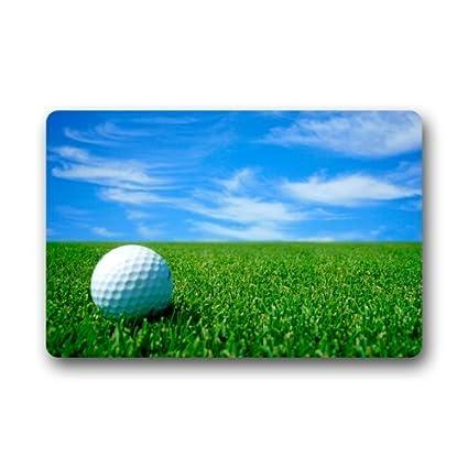 Delicieux Door Mat White Golf Ball On The Golf Course Blue Sky Doormat Rug  Indoor/Outdoor