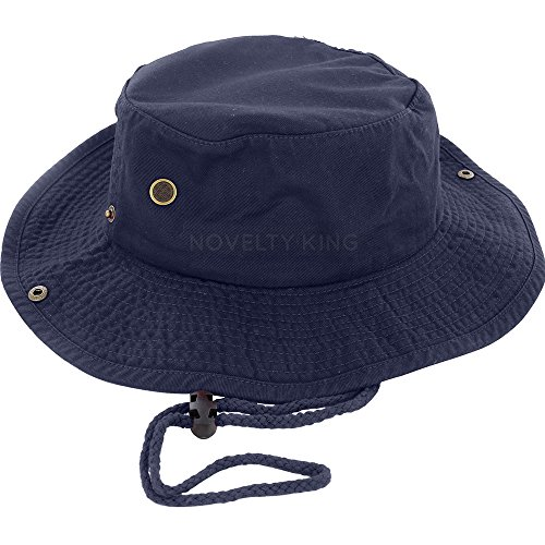 100% Cotton Boonie Fishing Bucket Hat with String ,Navy -