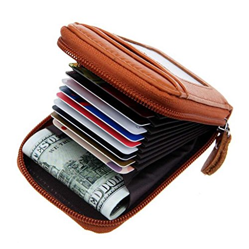 Black Friday Deals Cyber Monday Deals Week 2018-Compact Leather Key Holder Wallet Keychain Key Ring Women Men Key Pouch Wallet with ID Window (Brown)
