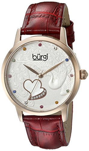 Burgi Women's BUR149RD Rose Gold Quartz Watch With Swarovski Crystal Accented Dial and Red Embossed Leather - Heart Burgi Womens