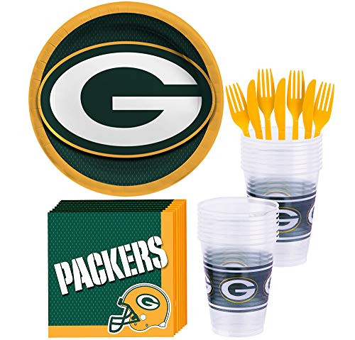 Party City Green Bay Packers Party Supplies for 18 Guests, Include Paper Plates, Paper Napkins, Cups, and Utensils