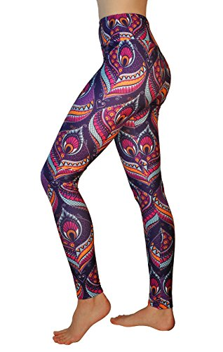 Comfy Yoga Pants - High Waisted Yoga Leggings with Bohemian Print - Extra Soft - Dry Fit (Peacock, One -