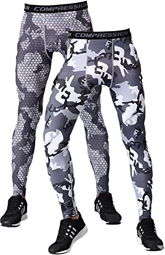 (SANKE Men's 2 Pack Compression Pants Camouflage Sports Tight Legging Baselayer, Grey Checks+grey Camo, US M=Tag L)
