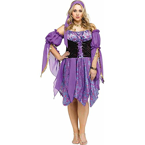[Fun World Women's Plus Size Gypsy Magic Costume, Multi, X-Large] (Gypsy Costume Head Scarf)