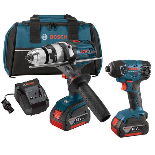 Bosch CLPK222-181-RT 18V 4.0 Ah Cordless Lithium-Ion Brute Tough Hammer Drill and Hex Impact Driver Combo Kit (Certified Refurbished) (Bosch Cordless Drill Kit)
