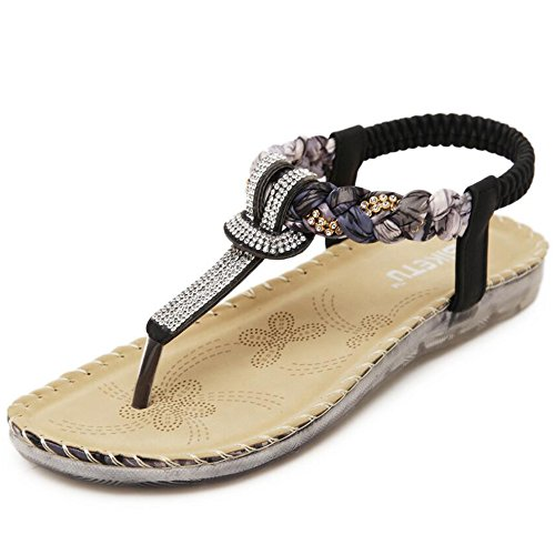 Strap Bohemian Sandals Toe Women's Ankle Black Summer Hattie Flats Clip xwItZ5