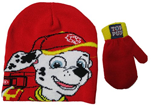 Paw Patrol Marshall Boys Beanie Hat and Mitten Set - Toddler (Marshall Hats)