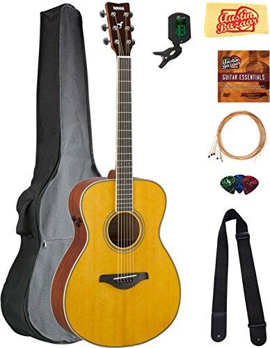 Yamaha FS-TA Concert Transacoustic Guitar - Vintage Tint Bundle with Gig Bag, Tuner, Strings, Strap, Picks, Austin Bazaar Instructional DVD, and Polishing Cloth (Best Vintage Yamaha Acoustic Guitars)