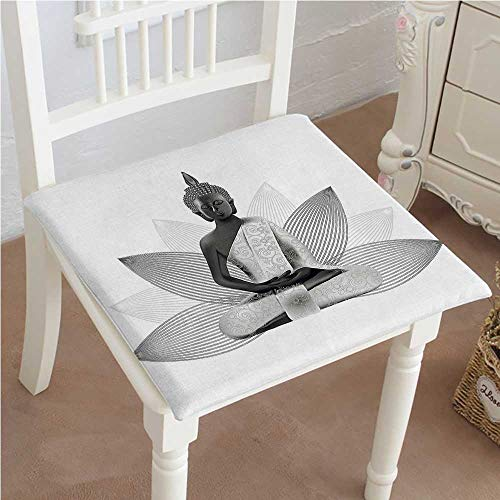 Mikihome Classic Decorative Chair pad Seat Lotus Flower Yoga Meditation Theme Silver Color On Lotus Petals Cushion with Memory Filling 18''x18''x2pcs by Mikihome