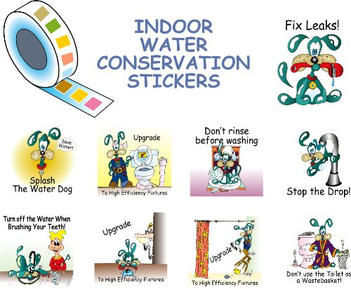 Roll of Water Dog Conservation Stickers Indoor Set of 9 Scenes | 126 Color Stickers (Roll Stickers Honor)