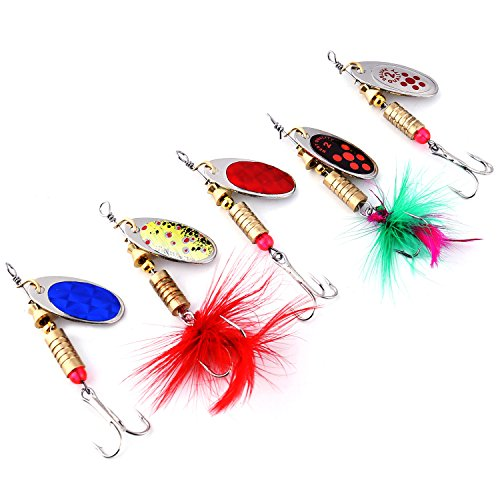 (Burning Shark Fishing Spinners, 5PCS Hard Metal Spinnerbaits Lures Kit for Bass Trout Walley with a Tackle Box)