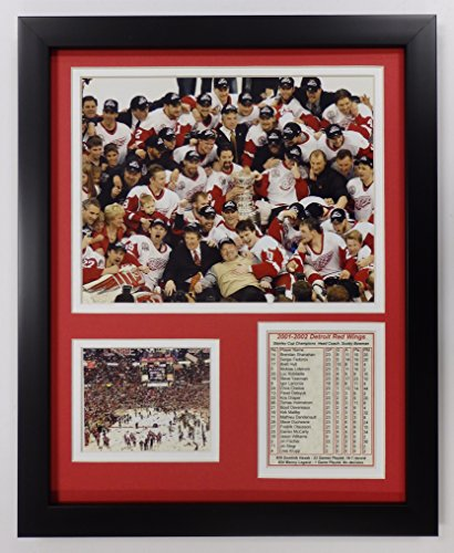 Legends Never Die NHL Detroit Red Wings 2002 Stanley Cup Champions Double Matted Photo Frame, 12