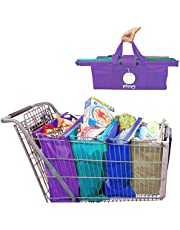 Pitango Trolley Bags - Reusable Shopping cart Bags for Groceries | Eco Friendly Shopping Totes to Easily and Safely Bag Your Groceries from Your Cart. Sized for Standard Supermarket Carts
