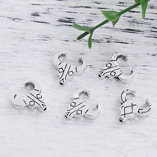 """PEPPERLONELY 50pc Antiqued Silver Alloy Beads Cow Charms Pendants 14 x14mm(4/8"""" x 4/8"""")"""