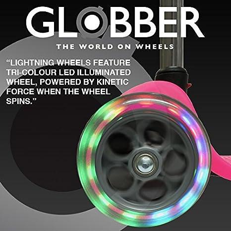 globber rollo de rueda delantera Bombilla LED 120 mm con rodamientos + F26 Pegatinas