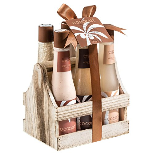 Bath and Body Skincare Luxury Spa Gift Set for Women, Tropical Milky Coconut Beauty Gift Basket, Shower Gel, Bubble Bath, Bath Salts, Body Butter, Body Scrub, Body Lotion Holiday Gifts for Women ()