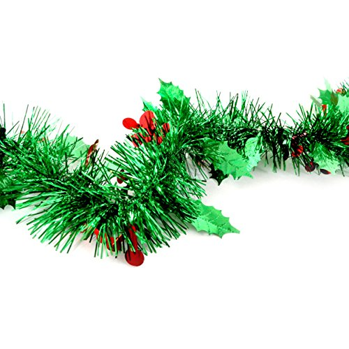 Mistle Toe Decorations of Holiday Garlands with a Shiny Christmas Wreath for Green Tinsel Sprakly Plastic Kissing Ornament That is Hanging Off House Doorway (Garland Herb)